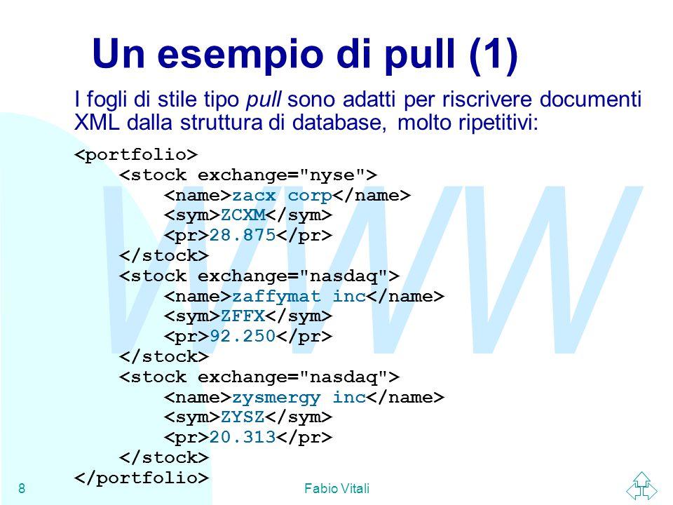 WWW Fabio Vitali8 Un esempio di pull (1) I fogli di stile tipo pull sono adatti per riscrivere documenti XML dalla struttura di database, molto ripetitivi: zacx corp ZCXM 28.875 zaffymat inc ZFFX 92.250 zysmergy inc ZYSZ 20.313