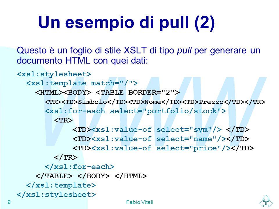 WWW Fabio Vitali9 Un esempio di pull (2) Questo è un foglio di stile XSLT di tipo pull per generare un documento HTML con quei dati: Simbolo Nome Prezzo