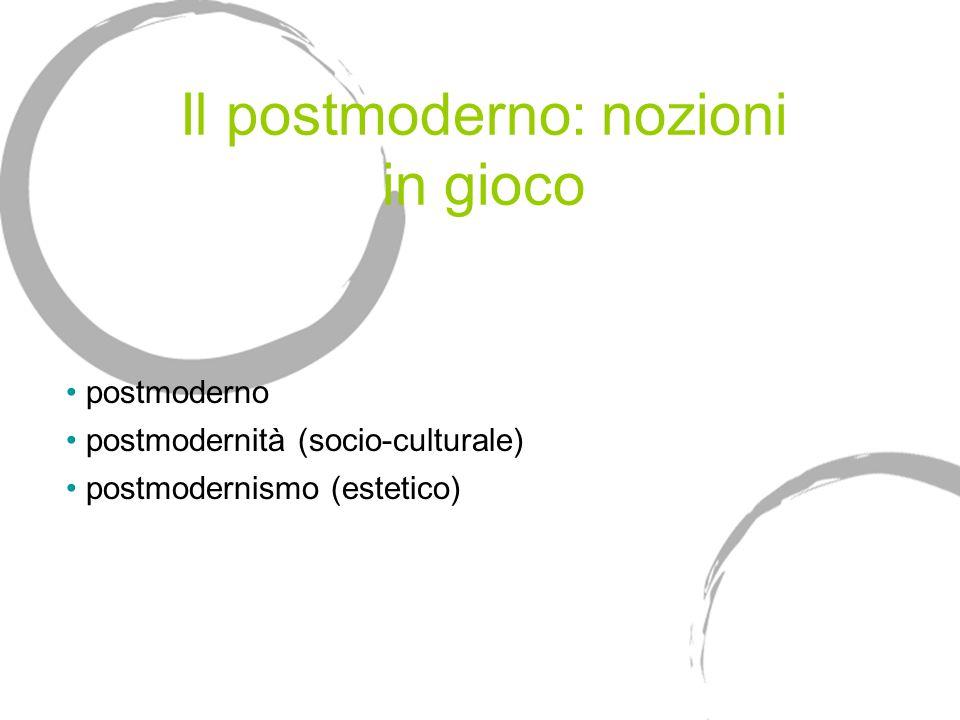 Il postmoderno: nozioni in gioco postmoderno postmodernità (socio-culturale) postmodernismo (estetico)