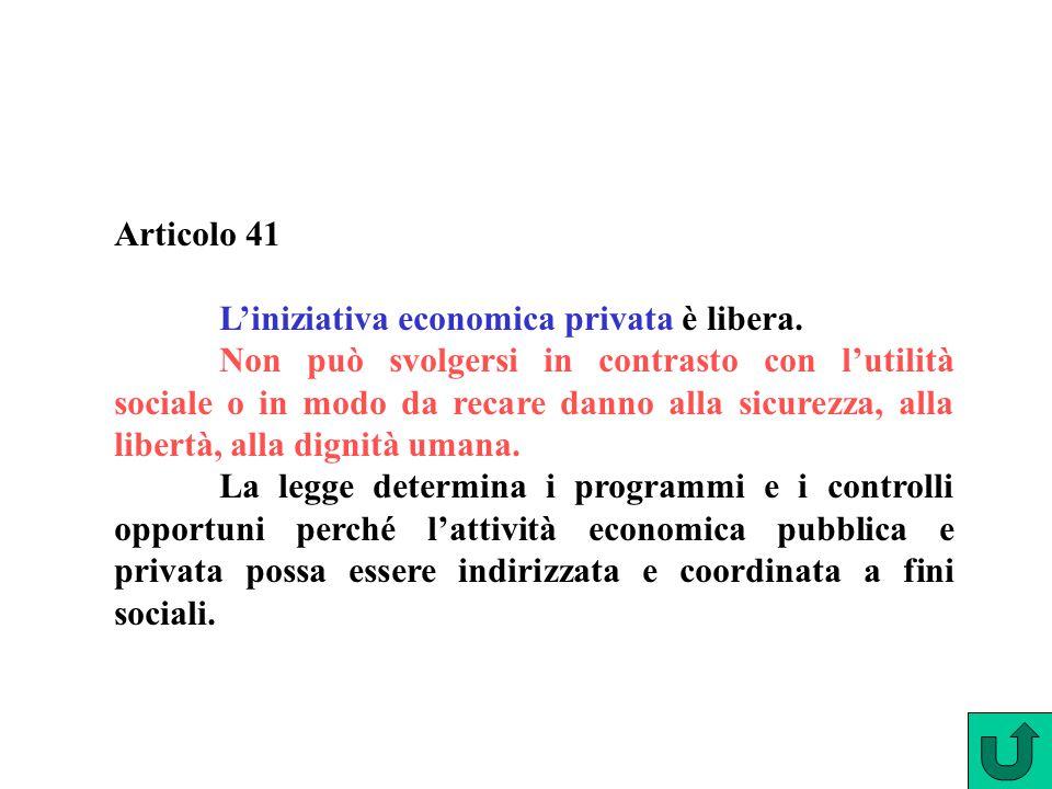 Articolo 41 L'iniziativa economica privata è libera. Non può svolgersi in contrasto con l'utilità sociale o in modo da recare danno alla sicurezza, al