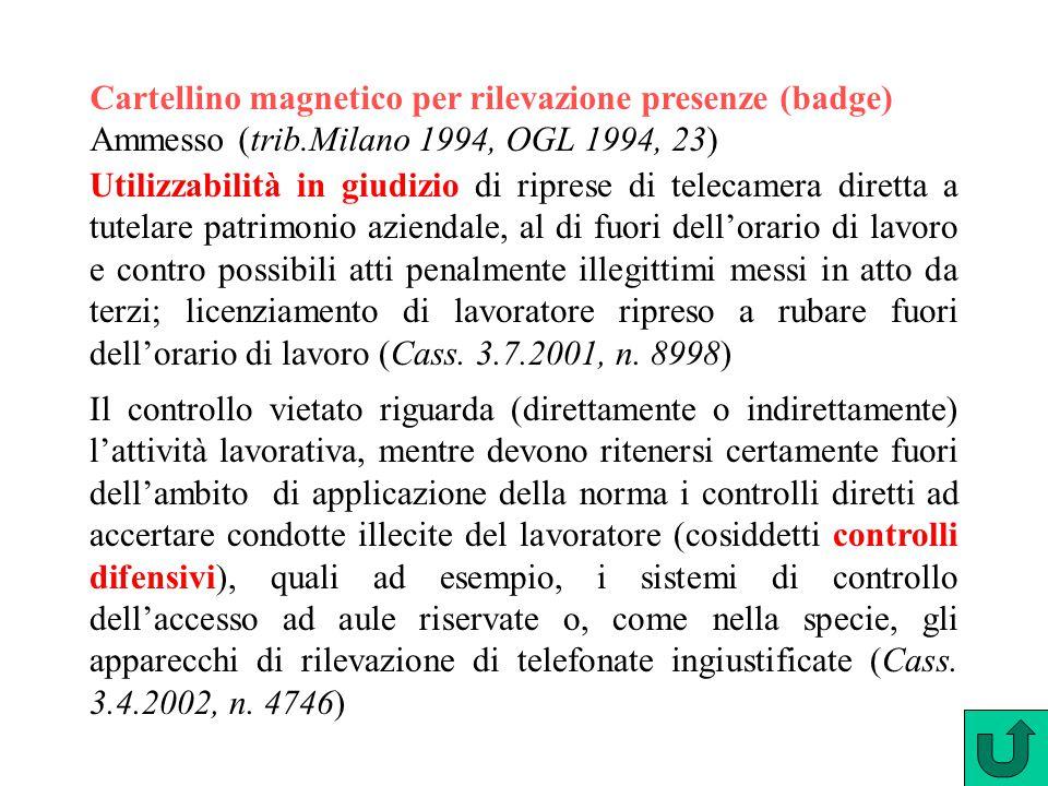 Cartellino magnetico per rilevazione presenze (badge) Ammesso (trib.Milano 1994, OGL 1994, 23) Utilizzabilità in giudizio di riprese di telecamera dir