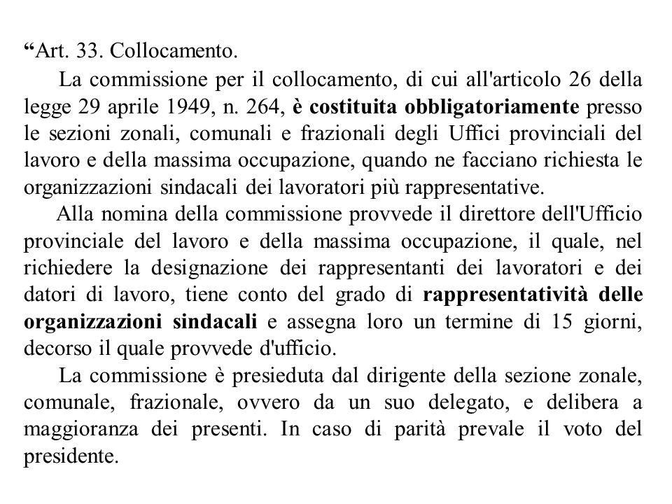 """""""Art. 33. Collocamento. La commissione per il collocamento, di cui all'articolo 26 della legge 29 aprile 1949, n. 264, è costituita obbligatoriamente"""