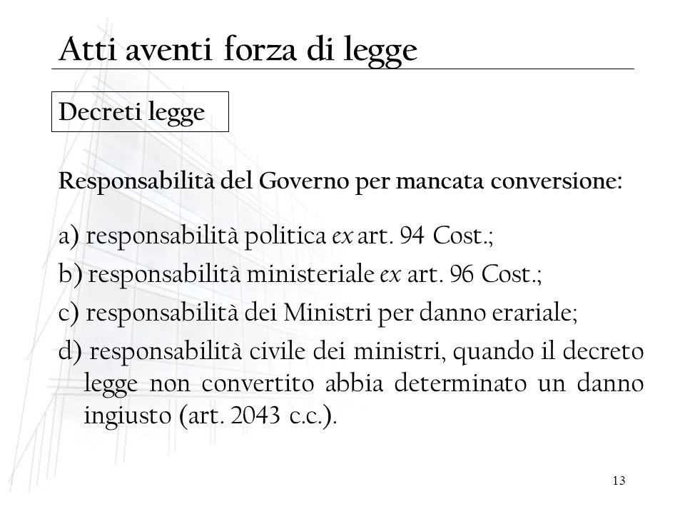 13 Decreti legge Responsabilità del Governo per mancata conversione : a) responsabilità politica ex art. 94 Cost.; b) responsabilità ministeriale ex a