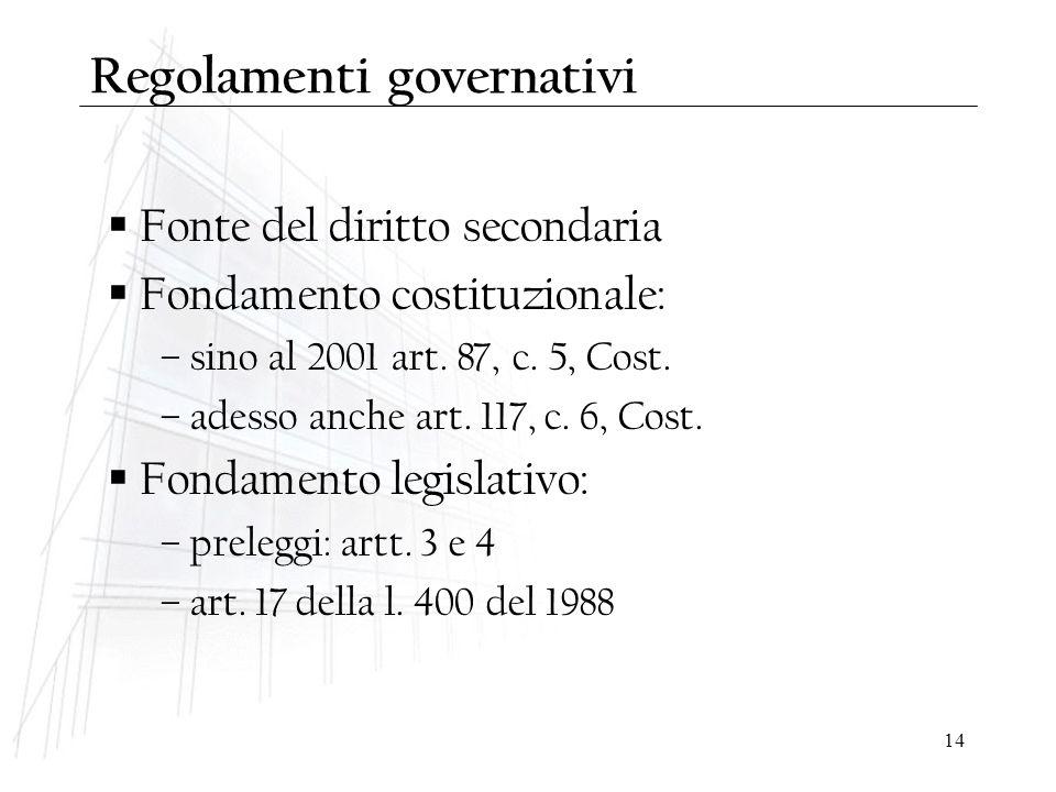 14 Regolamenti governativi  Fonte del diritto secondaria  Fondamento costituzionale: – sino al 2001 art. 87, c. 5, Cost. – adesso anche art. 117, c.