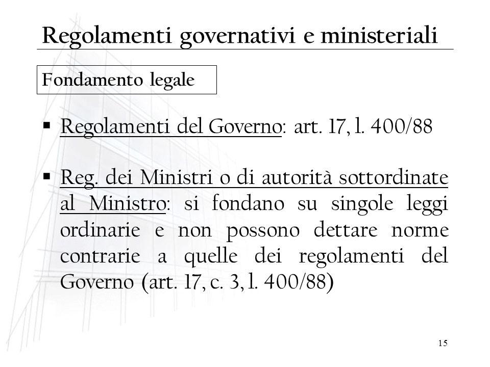 15 Regolamenti governativi e ministeriali  Regolamenti del Governo: art. 17, l. 400/88  Reg. dei Ministri o di autorità sottordinate al Ministro: si
