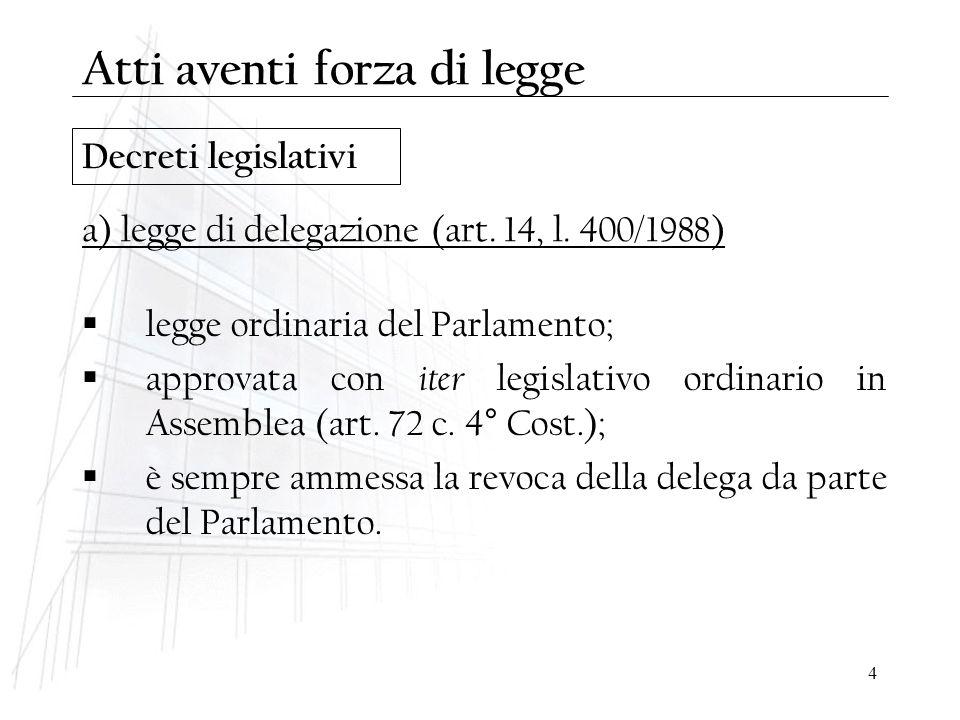 4 Decreti legislativi  legge ordinaria del Parlamento;  approvata con iter legislativo ordinario in Assemblea (art. 72 c. 4° Cost.);  è sempre amme