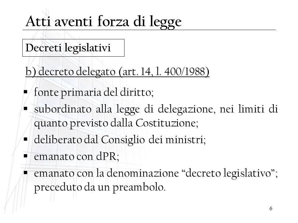 6 Decreti legislativi  fonte primaria del diritto;  subordinato alla legge di delegazione, nei limiti di quanto previsto dalla Costituzione;  delib