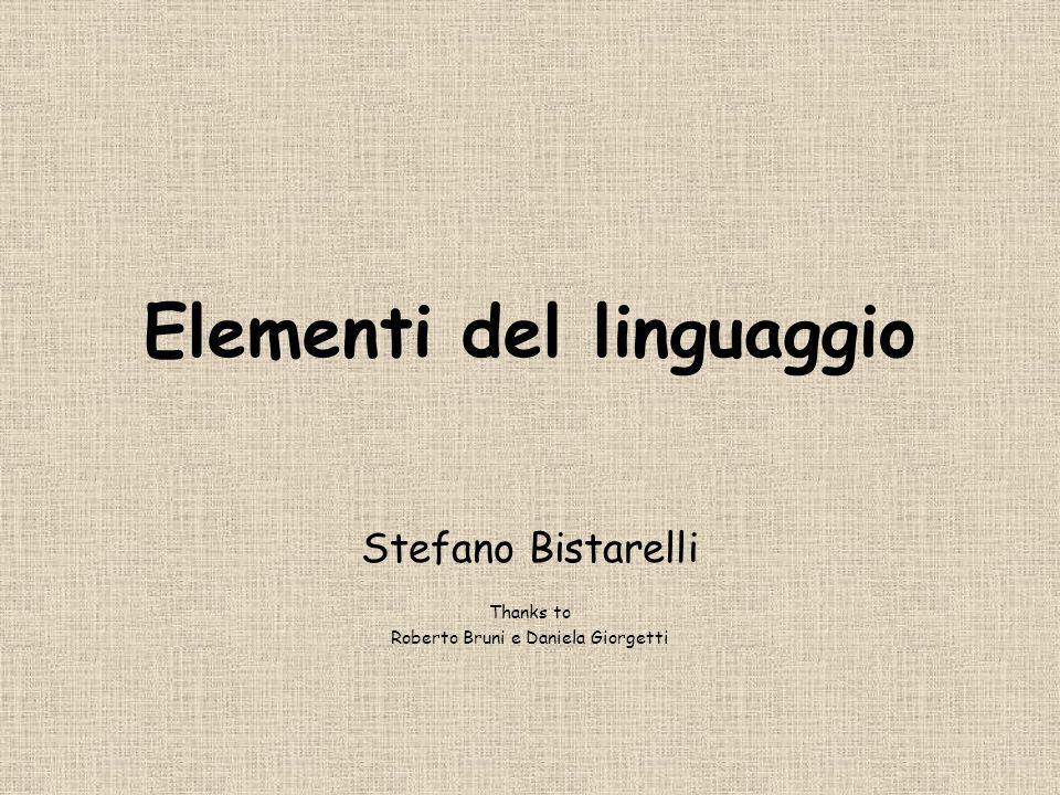 Elementi del linguaggio Stefano Bistarelli Thanks to Roberto Bruni e Daniela Giorgetti