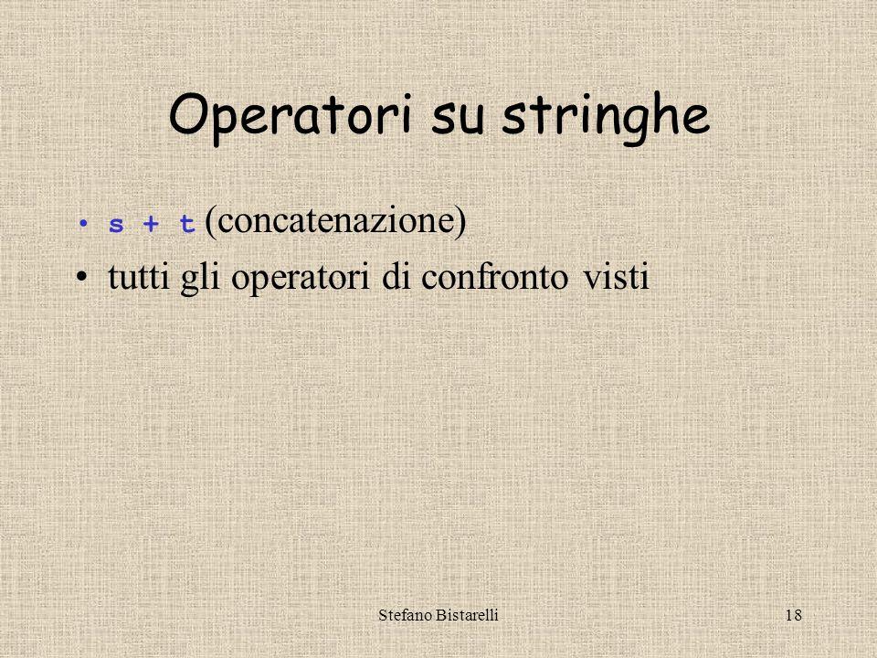 Stefano Bistarelli18 Operatori su stringhe s + t (concatenazione) tutti gli operatori di confronto visti