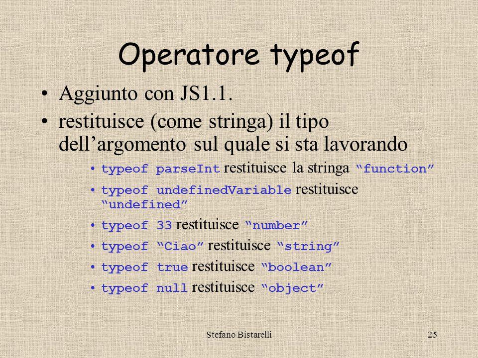 Stefano Bistarelli25 Operatore typeof Aggiunto con JS1.1.