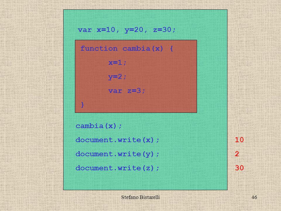 Stefano Bistarelli46 var x=10, y=20, z=30; function cambia(x) { x=1; y=2; var z=3; } cambia(x); document.write(x); document.write(y); document.write(z); 10 2 30