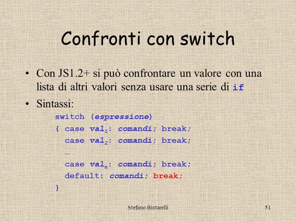 Stefano Bistarelli51 Confronti con switch Con JS1.2+ si può confrontare un valore con una lista di altri valori senza usare una serie di if Sintassi: switch (espressione) { case val 1 : comandi; break; case val 2 : comandi; break; … case val n : comandi; break; default: comandi; break; }