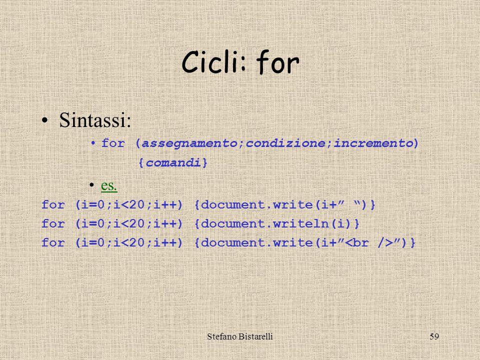 Stefano Bistarelli59 Cicli: for Sintassi: for (assegnamento;condizione;incremento) {comandi} es.