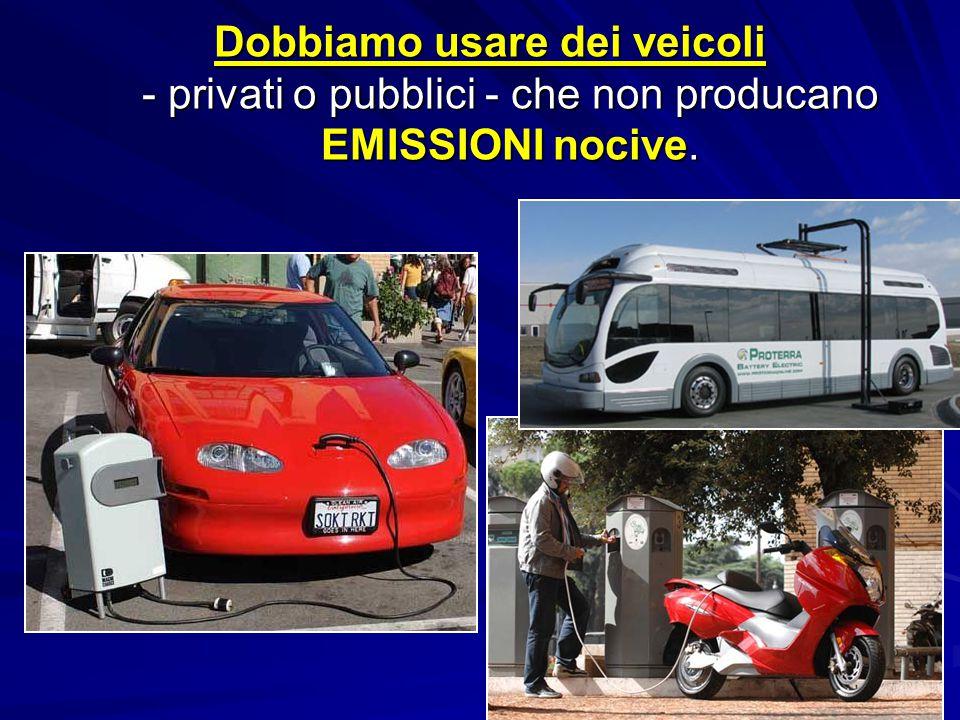 Dobbiamo usare dei veicoli - privati o pubblici - che non producano EMISSIONI nocive. Dobbiamo usare dei veicoli - privati o pubblici - che non produc