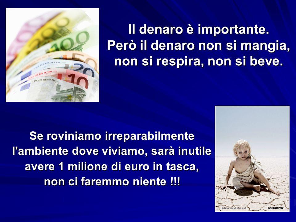 Il denaro è importante. Però il denaro non si mangia, non si respira, non si beve. Se roviniamo irreparabilmente l'ambiente dove viviamo, sarà inutile