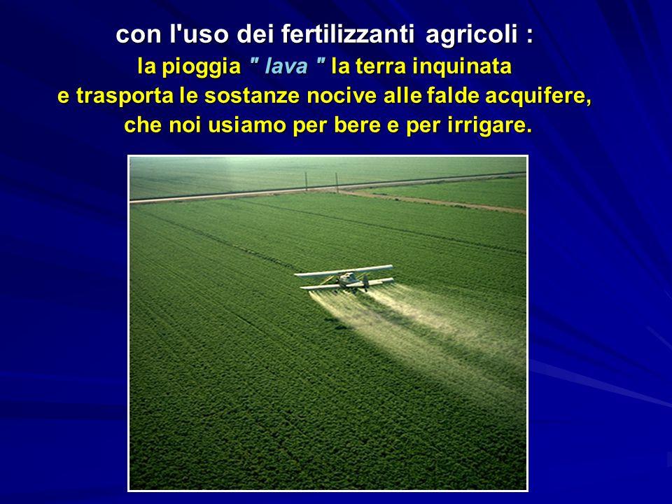 con l uso dei fertilizzanti agricoli : la pioggia lava la terra inquinata e trasporta le sostanze nocive alle falde acquifere, che noi usiamo per bere e per irrigare.