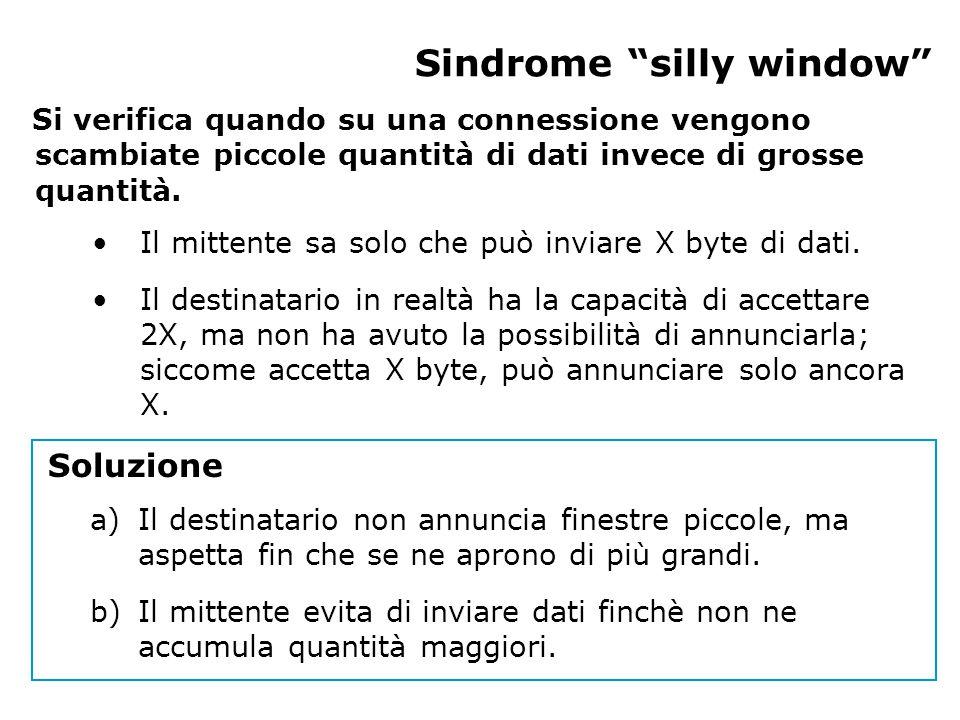 Sindrome silly window Si verifica quando su una connessione vengono scambiate piccole quantità di dati invece di grosse quantità.