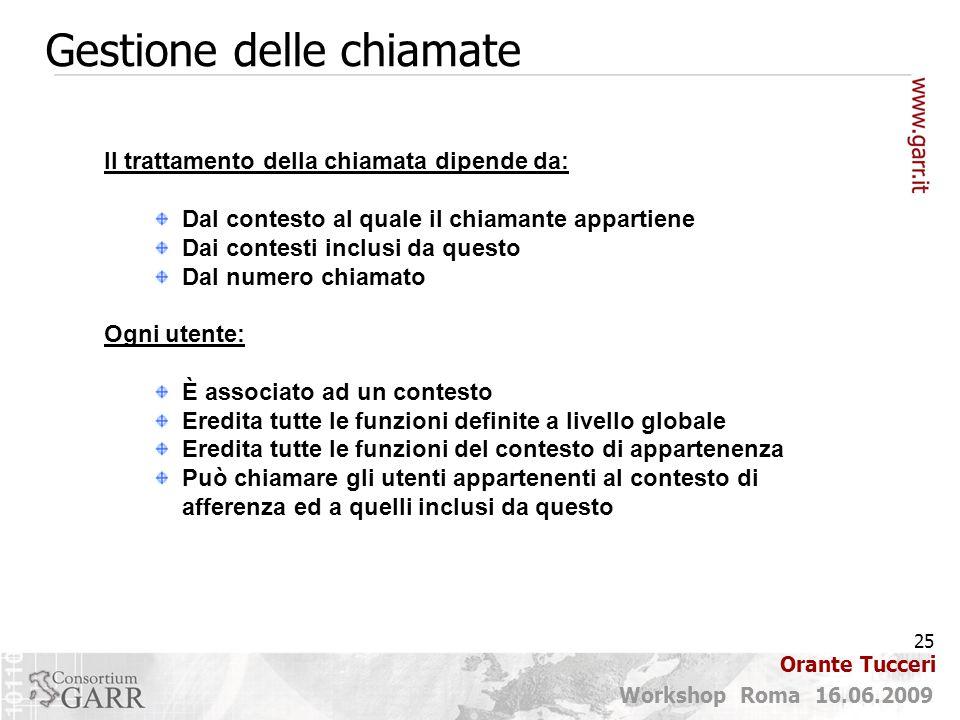 25 Workshop Roma 16.06.2009 Orante Tucceri Gestione delle chiamate Il trattamento della chiamata dipende da: Dal contesto al quale il chiamante appart