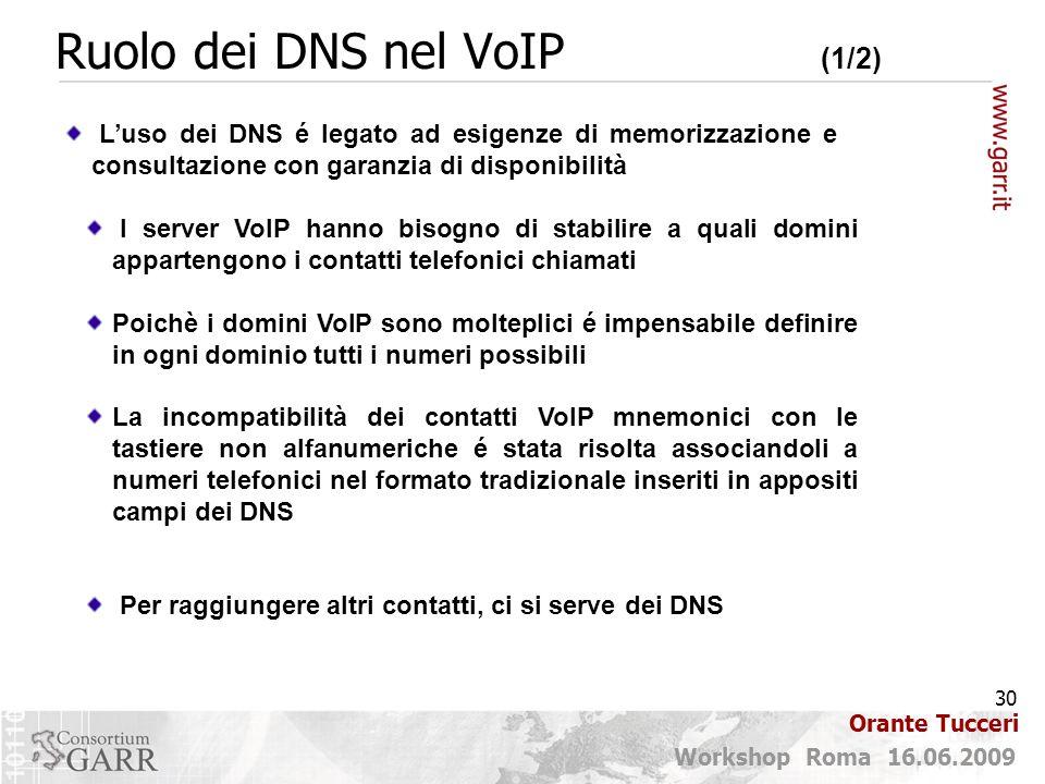 30 Workshop Roma 16.06.2009 Orante Tucceri Ruolo dei DNS nel VoIP (1/2) L'uso dei DNS é legato ad esigenze di memorizzazione e consultazione con garanzia di disponibilità I server VoIP hanno bisogno di stabilire a quali domini appartengono i contatti telefonici chiamati Poichè i domini VoIP sono molteplici é impensabile definire in ogni dominio tutti i numeri possibili La incompatibilità dei contatti VoIP mnemonici con le tastiere non alfanumeriche é stata risolta associandoli a numeri telefonici nel formato tradizionale inseriti in appositi campi dei DNS Per raggiungere altri contatti, ci si serve dei DNS