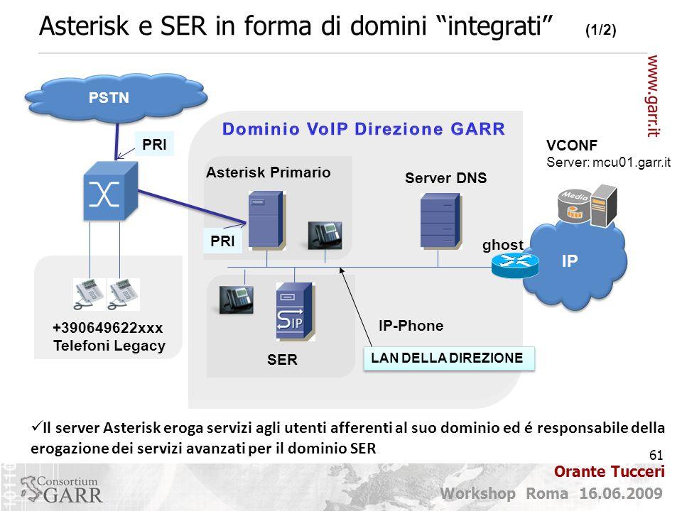 61 Workshop Roma 16.06.2009 Orante Tucceri Asterisk e SER in forma di domini integrati (1/2) Il server Asterisk eroga servizi agli utenti afferenti al suo dominio ed é responsabile della erogazione dei servizi avanzati per il dominio SER VCONF Server: mcu01.garr.it Asterisk Primario PRI PSTN PRI DNS LAN DELLA DIREZIONE Server DNS SER ghost +390649622xxx Telefoni Legacy IP-Phone IP