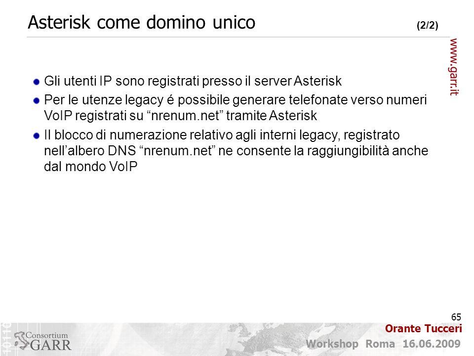 65 Workshop Roma 16.06.2009 Orante Tucceri Asterisk come domino unico (2/2) Gli utenti IP sono registrati presso il server Asterisk Per le utenze lega
