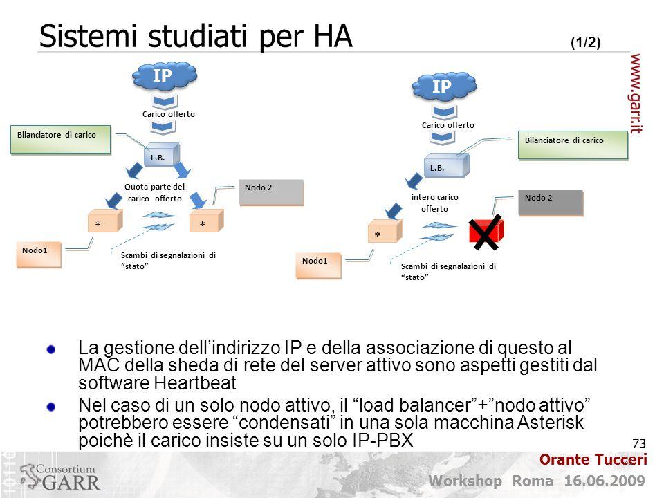 73 Workshop Roma 16.06.2009 Orante Tucceri 73 Sistemi studiati per HA (1/2) La gestione dell'indirizzo IP e della associazione di questo al MAC della
