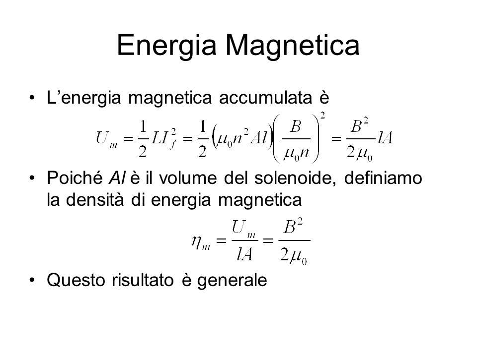 Energia Magnetica L'energia magnetica accumulata è Poiché Al è il volume del solenoide, definiamo la densità di energia magnetica Questo risultato è g