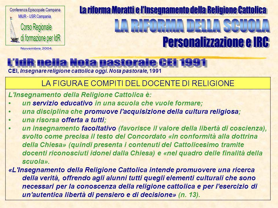 LA FIGURA E COMPITI DEL DOCENTE DI RELIGIONE L'Insegnamento della Religione Cattolica è: un servizio educativo in una scuola che vuole formare; una di