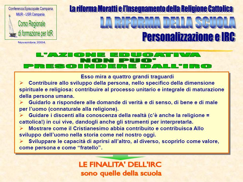 Esso mira a quattro grandi traguardi  Contribuire allo sviluppo della persona, nello specifico della dimensione spirituale e religiosa: contribuire a