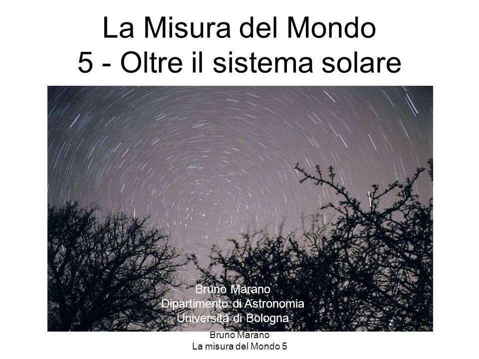 Bruno Marano La misura del Mondo 5 Le dimensioni della galassia La distribuzione degli ammassi globulari determina le dimensioni della Galassia e la posizione del Sole: è un disco, di raggio 10 Kpc, di spessore 2-3 Kpc.