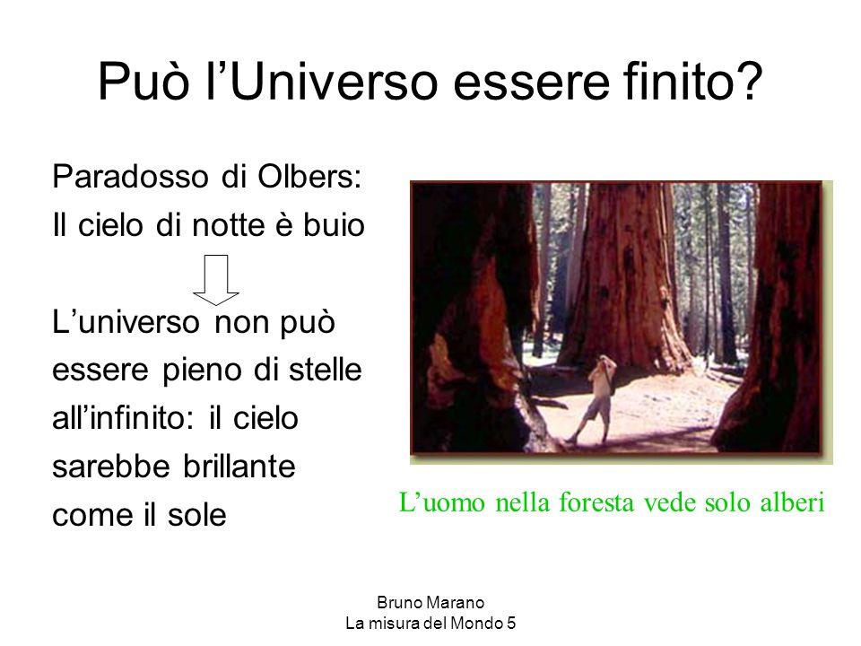 Bruno Marano La misura del Mondo 5 Può l'Universo essere finito? Paradosso di Olbers: Il cielo di notte è buio L'universo non può essere pieno di stel