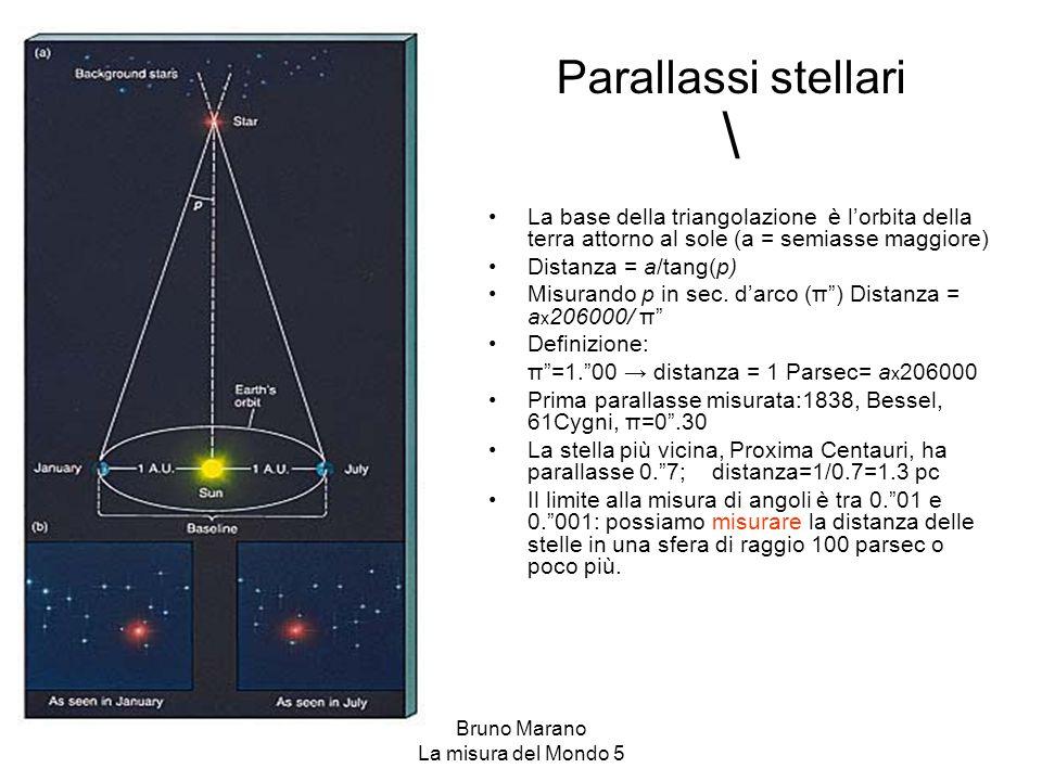 Bruno Marano La misura del Mondo 5 \ La base della triangolazione è l'orbita della terra attorno al sole (a = semiasse maggiore) Distanza = a/tang(p)