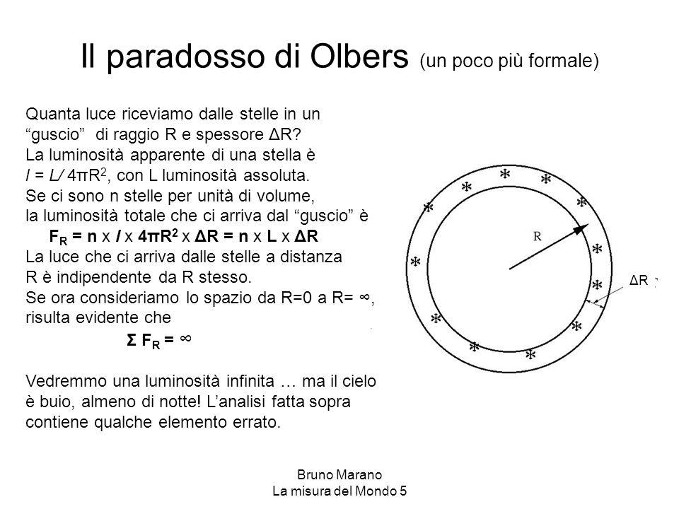 """Bruno Marano La misura del Mondo 5 Il paradosso di Olbers (un poco più formale) Quanta luce riceviamo dalle stelle in un """"guscio"""" di raggio R e spesso"""