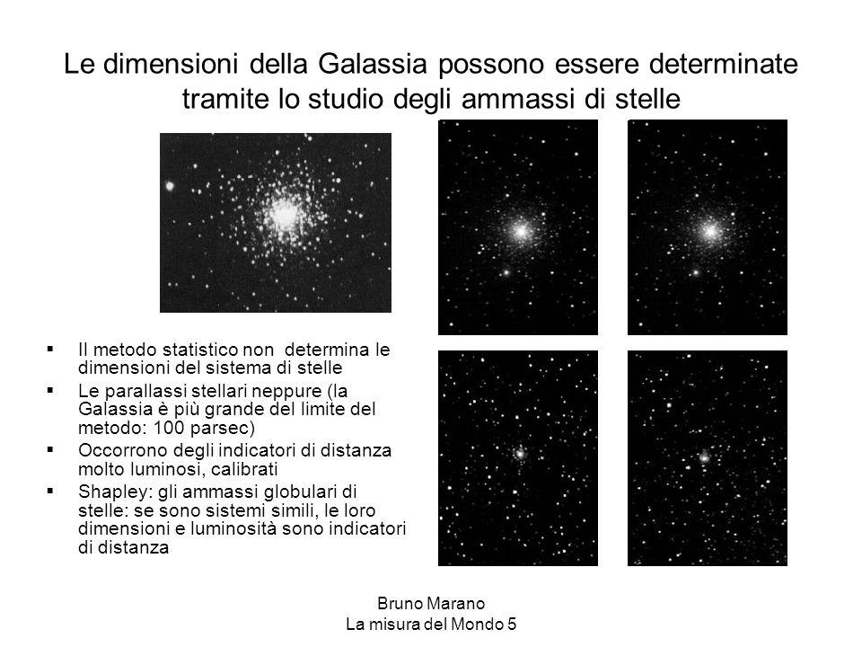 Bruno Marano La misura del Mondo 5 Le dimensioni della Galassia possono essere determinate tramite lo studio degli ammassi di stelle  Il metodo stati