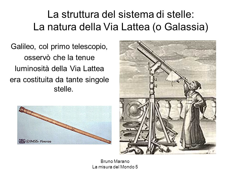 La struttura del sistema di stelle: La natura della Via Lattea (o Galassia) Galileo, col primo telescopio, osservò che la tenue luminosità della Via L