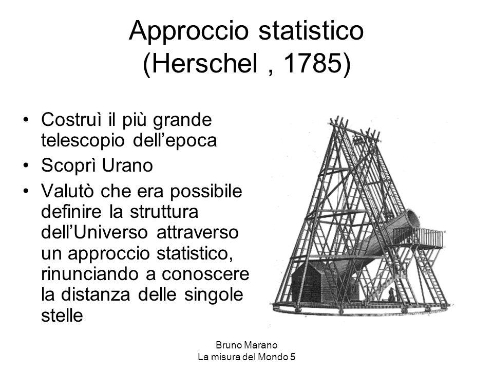 Bruno Marano La misura del Mondo 5 Approccio statistico (Herschel, 1785) Costruì il più grande telescopio dell'epoca Scoprì Urano Valutò che era possi