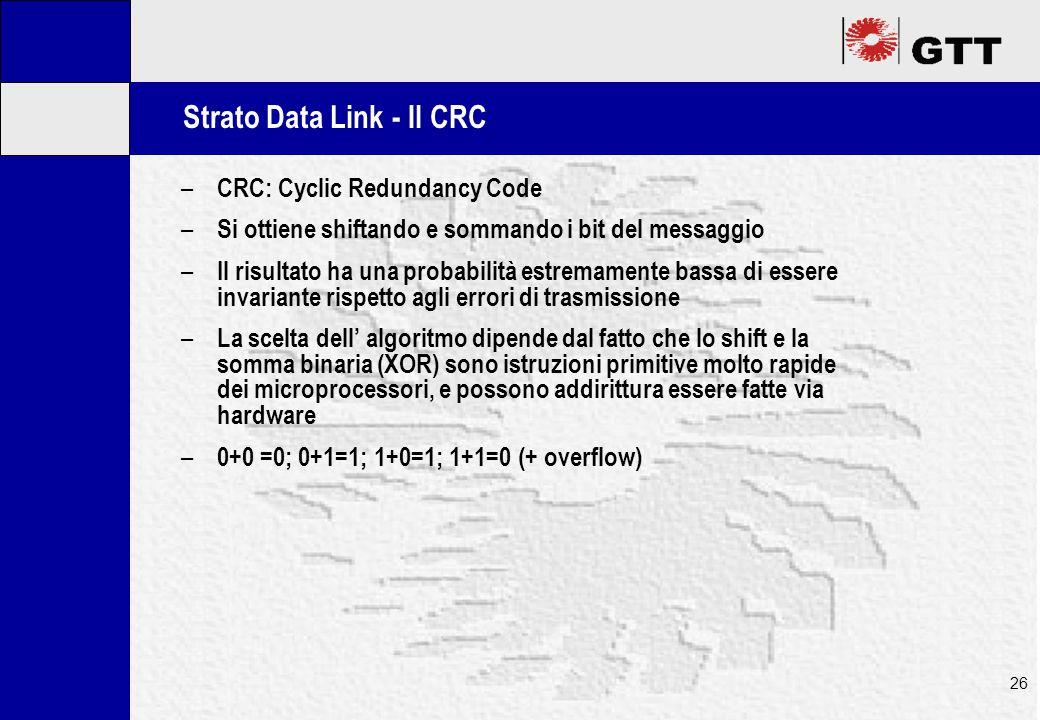 Mastertitelformat bearbeiten 26 Strato Data Link - Il CRC – CRC: Cyclic Redundancy Code – Si ottiene shiftando e sommando i bit del messaggio – Il risultato ha una probabilità estremamente bassa di essere invariante rispetto agli errori di trasmissione – La scelta dell' algoritmo dipende dal fatto che lo shift e la somma binaria (XOR) sono istruzioni primitive molto rapide dei microprocessori, e possono addirittura essere fatte via hardware – 0+0 =0; 0+1=1; 1+0=1; 1+1=0 (+ overflow)