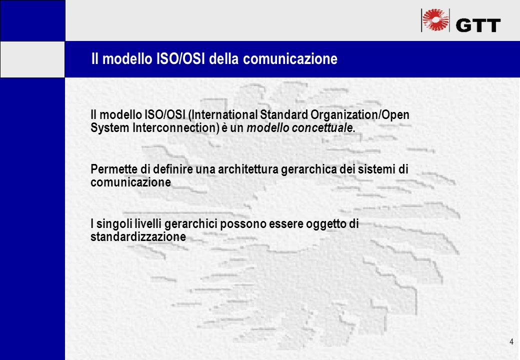 Mastertitelformat bearbeiten 4 Il modello ISO/OSI (International Standard Organization/Open System Interconnection) è un modello concettuale.