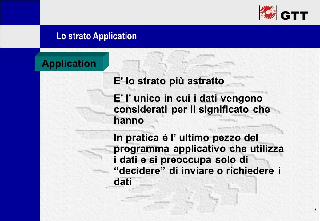 Mastertitelformat bearbeiten 6 Lo strato Application Application E' lo strato più astratto E' l' unico in cui i dati vengono considerati per il significato che hanno In pratica è l' ultimo pezzo del programma applicativo che utilizza i dati e si preoccupa solo di decidere di inviare o richiedere i dati