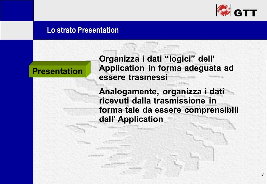 Mastertitelformat bearbeiten 8 Lo strato Session Gestisce il collegamento logico con la controparte: avvia la sessione di comunicazione, definisce particolari quali le priorità, ecc.