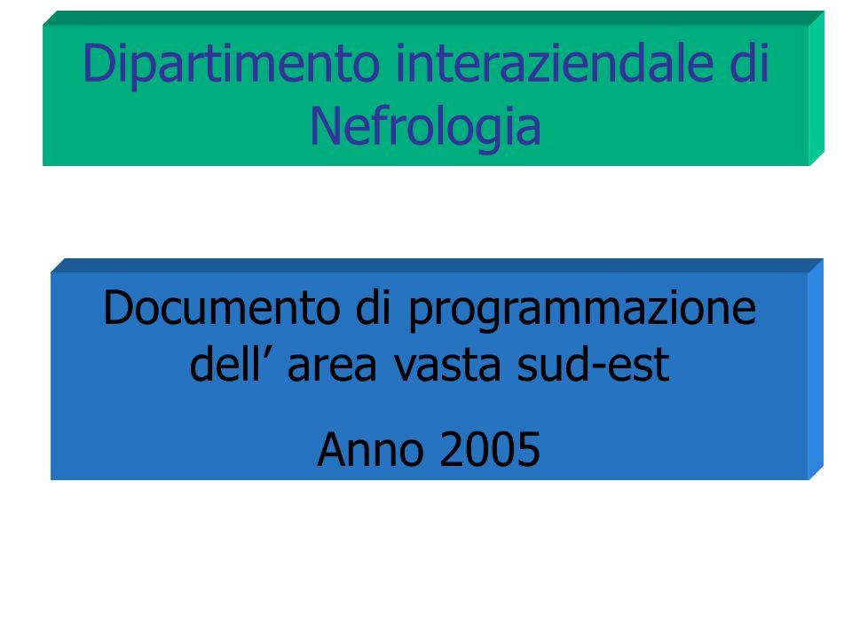 Dipartimento interaziendale di Nefrologia Documento di programmazione dell' area vasta sud-est Anno 2005