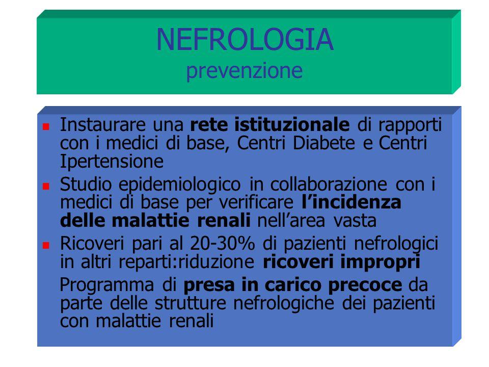 NEFROLOGIA prevenzione Instaurare una rete istituzionale di rapporti con i medici di base, Centri Diabete e Centri Ipertensione Studio epidemiologico