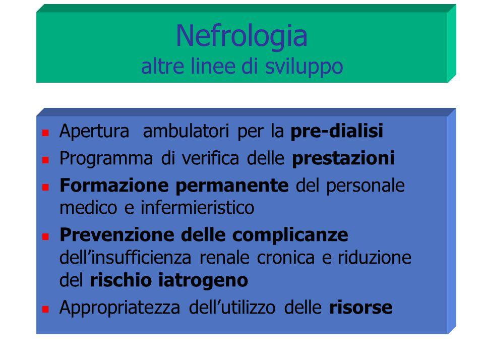 Apertura ambulatori per la pre-dialisi Programma di verifica delle prestazioni Formazione permanente del personale medico e infermieristico Prevenzion