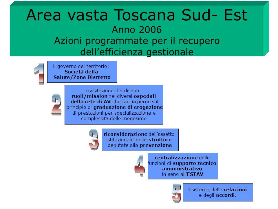 Area vasta Toscana Sud- Est Anno 2006 Azioni programmate per il recupero dell'efficienza gestionale rivisitazione dei distinti ruoli/mission nei diver
