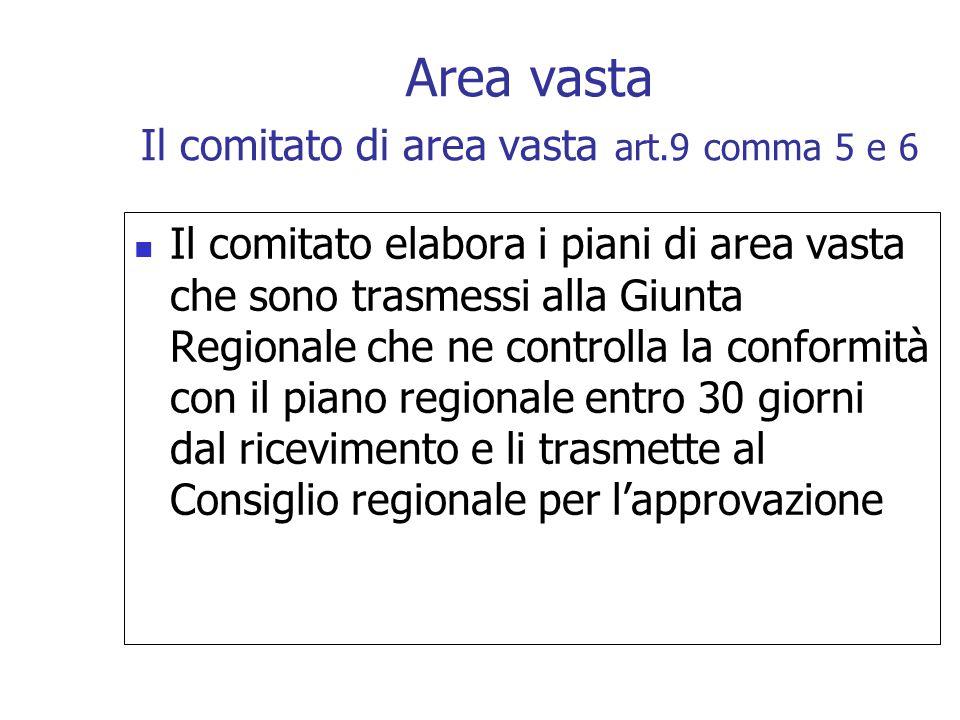 Il comitato elabora i piani di area vasta che sono trasmessi alla Giunta Regionale che ne controlla la conformità con il piano regionale entro 30 gior