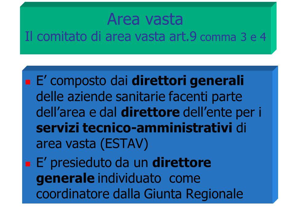 Area vasta Il comitato di area vasta art.9 comma 3 e 4 E' composto dai direttori generali delle aziende sanitarie facenti parte dell'area e dal dirett