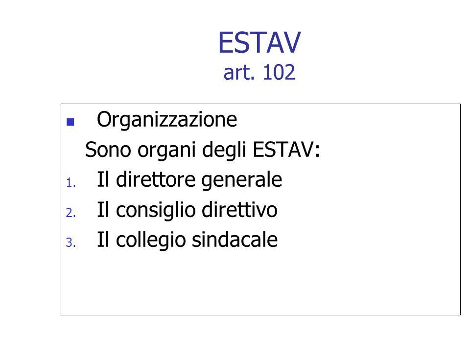 Organizzazione Sono organi degli ESTAV: 1. Il direttore generale 2. Il consiglio direttivo 3. Il collegio sindacale ESTAV art. 102