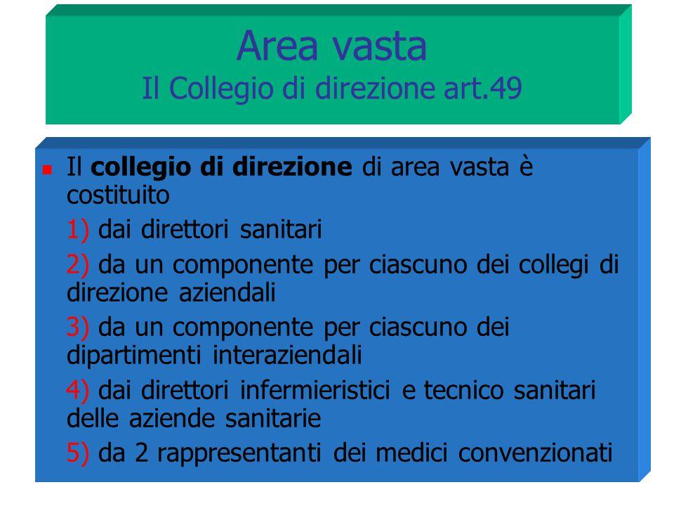 Area vasta Il Collegio di direzione art.49 Il collegio di direzione di area vasta è costituito 1) dai direttori sanitari 2) da un componente per ciasc