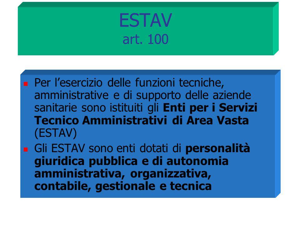 ESTAV art. 100 Per l'esercizio delle funzioni tecniche, amministrative e di supporto delle aziende sanitarie sono istituiti gli Enti per i Servizi Tec