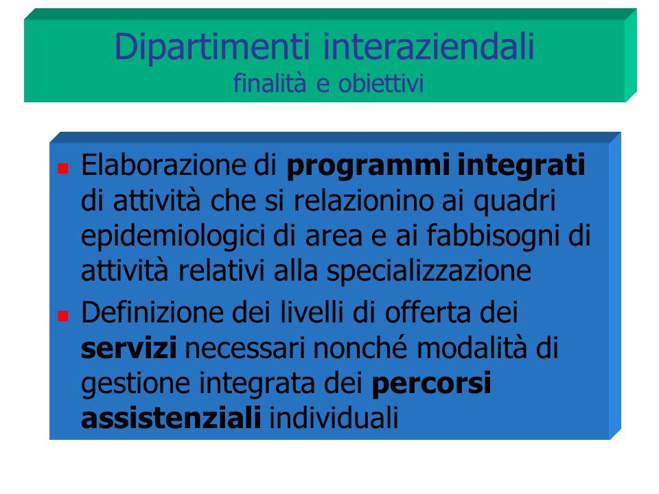 Dipartimenti interaziendali finalità e obiettivi Elaborazione di programmi integrati di attività che si relazionino ai quadri epidemiologici di area e
